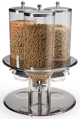 Displays2go 3-Canister Cereal Dispenser