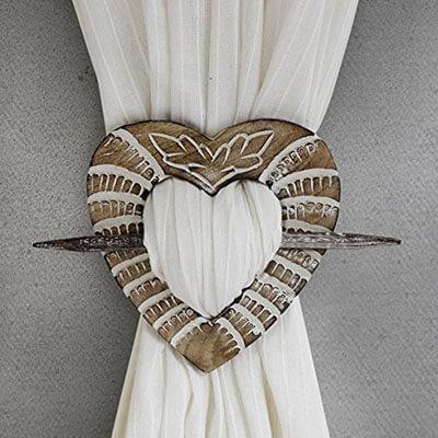 Store Indya Handmade Tieback Curtains Holdback Wooden Rustic Heart Shaped
