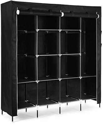 "SONGMICS 67"" Clothes Closet Portable Wardrobe with 12 Shelves 4 Side Pockets Black"
