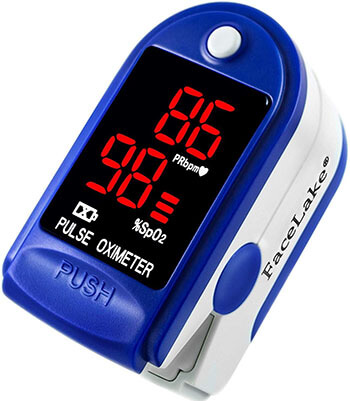 FaceLake Blue Pulse Oximeter with Carrying Case, Batteries and Lanyard