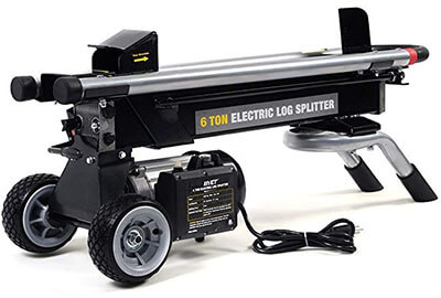 Goplus Hydraulic Electric Log Splitter with Mobile Wheels-6 Ton 1500W