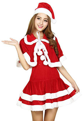 Quesera Miss Santa Suit Adult Halloween Party Costume Dress and Sweetie Christmas