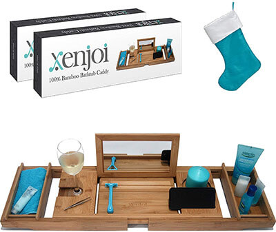 xenjoi Luxury Bamboo Bathtub Caddy Tray