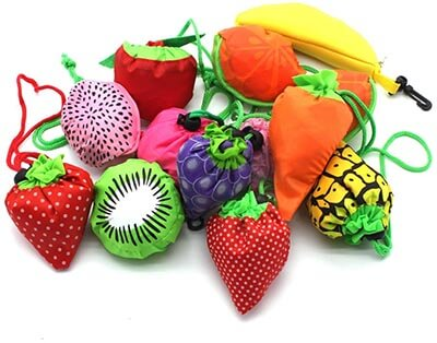 YUYIKES 10PCS Fruits Reusable Grocery Tote Bags