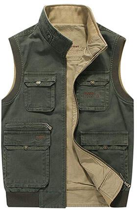 Gihuo Men's Reversible Outdoor Fishing Safari Travel Vest Jacket