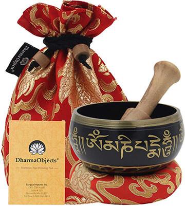 DharmaObjects Tibetan OM MANI Singing Bowl Set