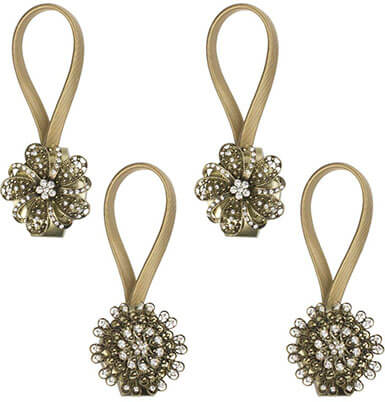 Gent House Magnetic Crystal Flower Shape Decorative Drapes Holdbacks- Curtain Tieback Clips
