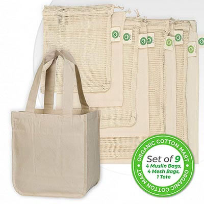 Organic Cotton Mart Grocery Bags