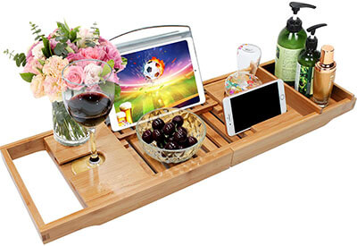 Good Love Bamboo Bathtub Caddy Tray Expandable Bathroom Organizer