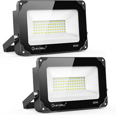 On four 60W LED Flood Light, 6000lm Super Bright Security Lights, 2 Pack