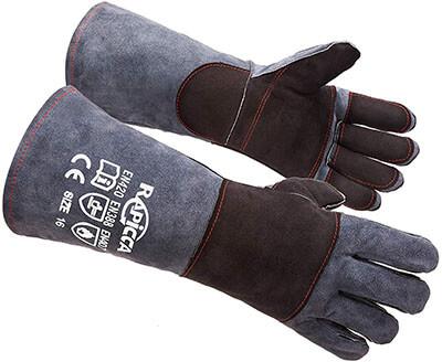 RAPICCA Bite Proof Kevlar Reinforced Leather Animal Handling Gloves