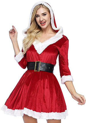 ADOMI Women's Mrs. Claus Costume Santa Baby 2-Piece Costume
