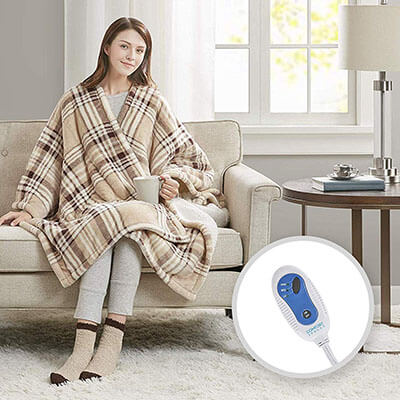 Comfort Spaces Electric Heated Throw Ultra Soft Blanket Wrap