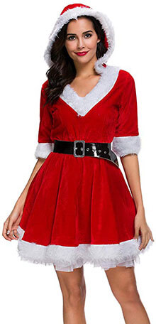 Simplecc Mrs. Claus Costume Christmas Dress for Women Hooded Role Play Outfits