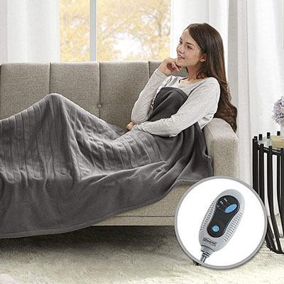 Beautyrest Soft Hypoallergenic Fleece Electric Heated Blanket Throw Super