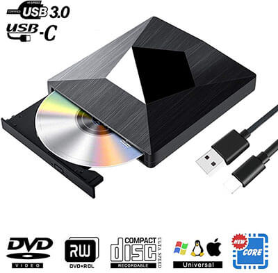 PiAEK Type C and USB 3.0 Super-drive Optical Drive Portable