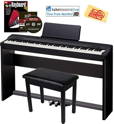 Casio Privia PX-160 Digital Piano SP-33 Pedal- with CS-67 Stand, Black Bundle