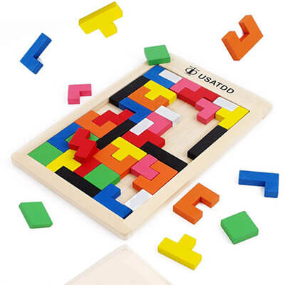 USATDD Wooden Tetris-Puzzle Tangram Jig-saw Brain Teasers
