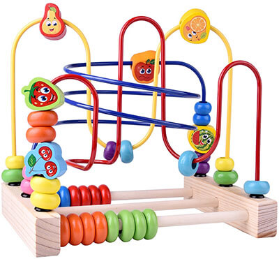 FUN Little Wooden Toys, Beads Maze Roller Coaster Educational Toys