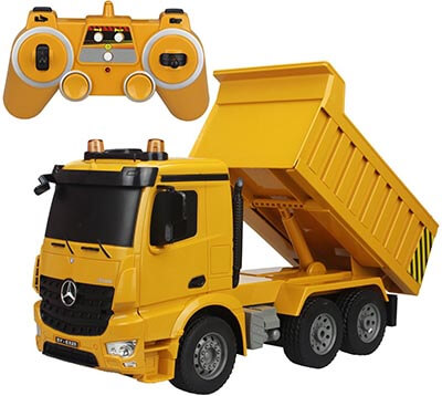 fisca Remote Control Truck 6 Channel 2.4Ghz Mercedes-Benz Construction Vehicle Toy RC Dump Truck