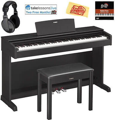 Yamaha YDP-143-BBlack Bundle Arius Console Digital Piano with Furniture Bench