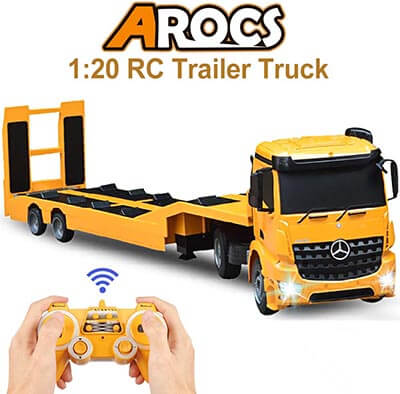 DOUBLE E RC Tow Truck Mercedes-Benz Acros with Detachable Semi-Trailer Remote Control Trailer
