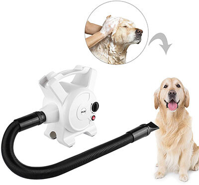 Pedy Dog Hair Dryer, 3.2 HP Stepless Adjustable Speed Dryers with 3 Different Nozzles