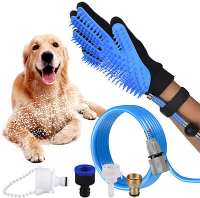 Coolwoo 3 in 1 Pet Shower Kit –Plus Free Dental Finger Brush Glove