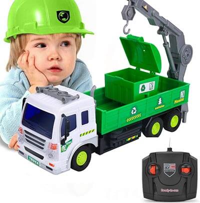 EsOfficce Remote Control Truck, 4 WD Recycle Garbage Crane Truck with Light