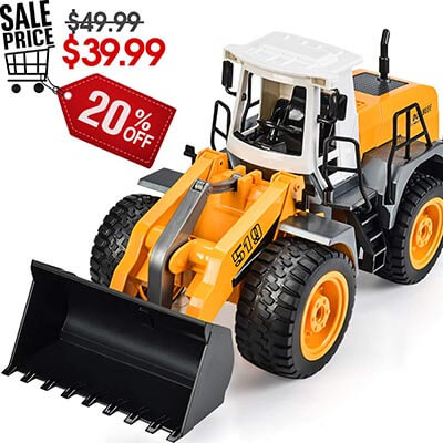 DOUBLE E RC Front Loader 8 Channel Bulldozer Truck Electric RC Tractor with Lights & Sounds