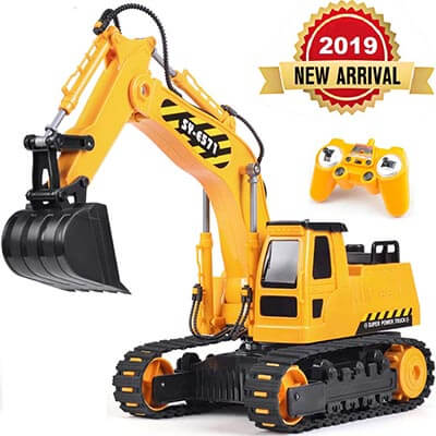 DOUBLE E 2.4GHz Remote Control Truck Excavator Toy with Rechargeable Battery