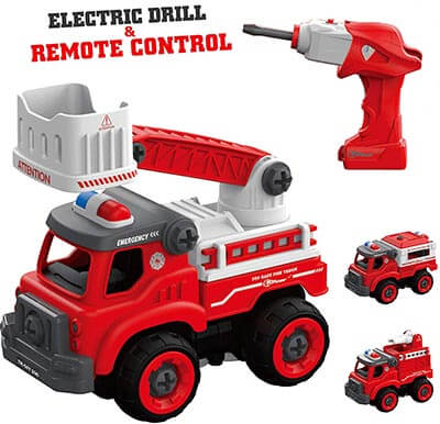 Take Apart Toys with Electric Drill and Converts to Fire Truck Remote Control Car