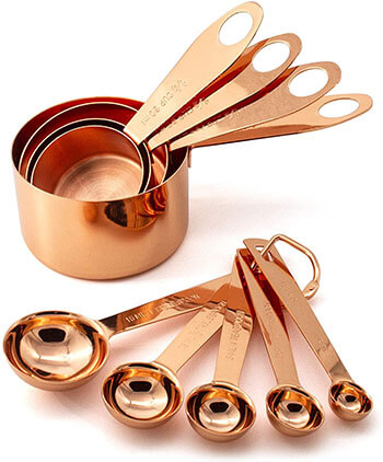 GOOD FOR YOU 9 Piece Copper Measuring Cups