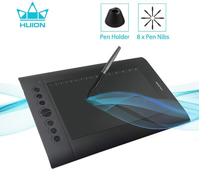 Huion H610 Pro V2 Graphic Drawing Tablet Tilt Function Battery-Free Stylus