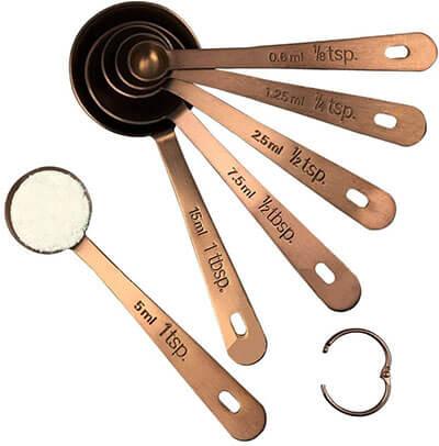 Kingware Home Premium Stainless Steel Copper Measuring Spoons Set