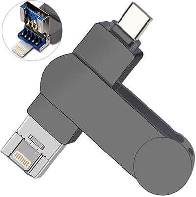 OUYUI 3- in-1 Type C, iOS, PC USB Flash Drive