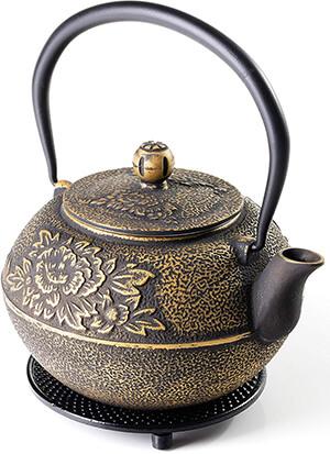 SunsetCo - Cast Iron Teapot with Trivet Set