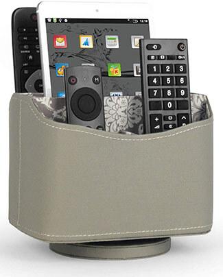 Media Storage PU Leather Rotating Remote Control Holder Organizer