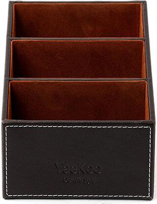 Yaekoo Wooden Struction Leather Multi-function Desk Stationery Organizer Box