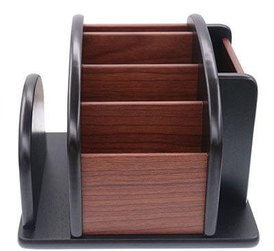 Coideal Wooden Spinning Remote Controls Holder Caddy Desk Storage Organizer