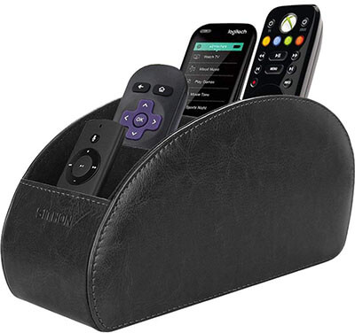 SITHON 5 Compartments PU Leather Remote Control Holder Desktop Organizer