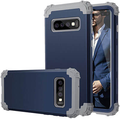 Fingic Full-Body 3 in 1 Hybrid Shockproof Protective Phone Galaxy S10 plus Case Cover