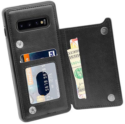 Mmhuo Premium PU Leather Galaxy S10 Case