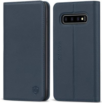 SHIELDON Genuine-Leather Galaxy S10 Wallet Case