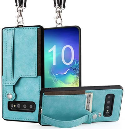 TOOVREN Samsung Neck Strap Galaxy S10 Wallet Case