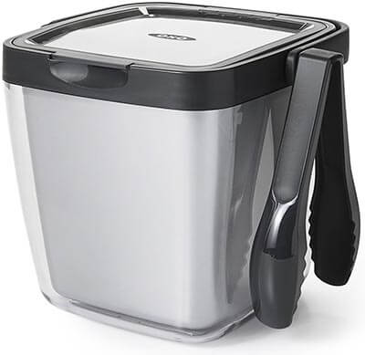 OXO Good Grips Double-Wall Ice Bucket with Garnish Tray and Tongs