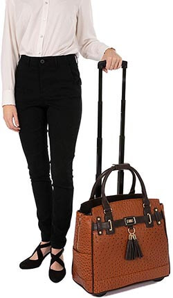JKM and Company -The Uptown Ostrich Computer Laptop Rolling Tote Bag Briefcase