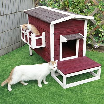 "Petsfit Large Weather-proof Outdoor Cat Condo/shelter/House with Stair, 27.5"" Lx17.5 Wx20"