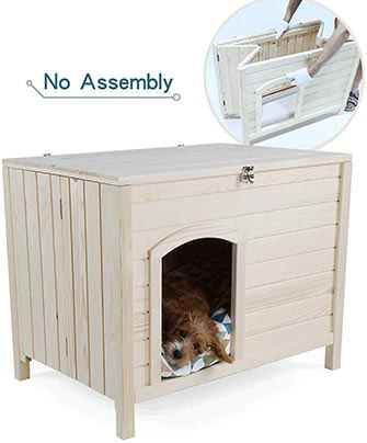 "Petsfit No-Assembly Portable Wooden Dog House- 31"" x 20"" x 24"""