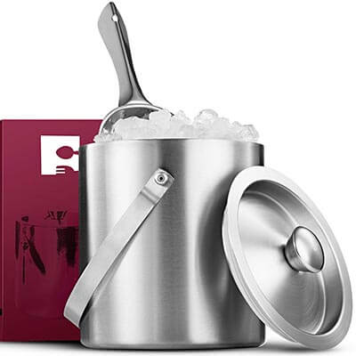 Fine Dine Brushed Stainless Steel Double-Walled Ice Bucket